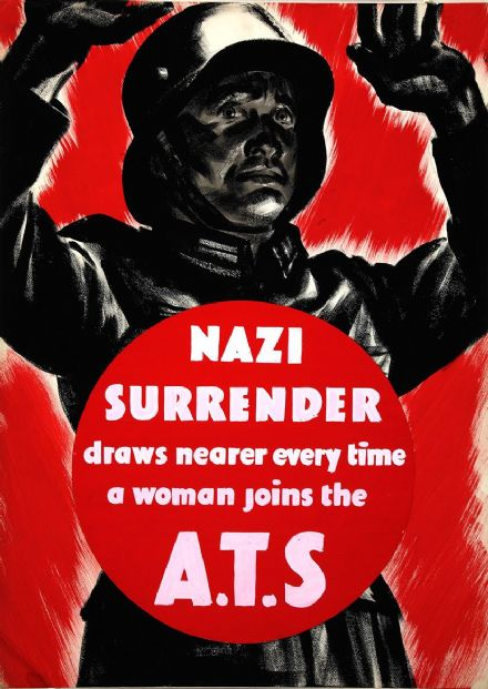 Nazi Surrender Draws Nearer Every Time a Woman Joins the A.T.S Wartime Print/Poster. Sizes: A4/A3/A2/A1 (00916)